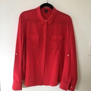 Ann Taylor long sleeve button down silk shirt